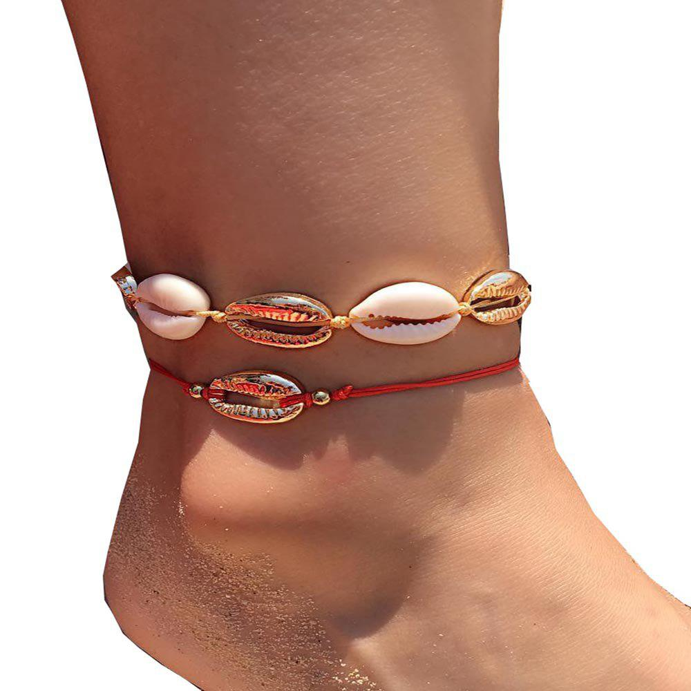 Outfits Women'S 2 Pcs Ankle Chains  Stylish Seashell Decor Accessories
