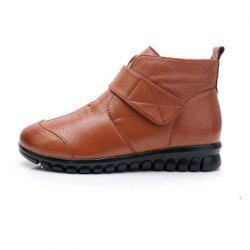 WinterAdd Velvety Flat Bottom Cowhide Cotton Boots For Middle-aged And Elderly -