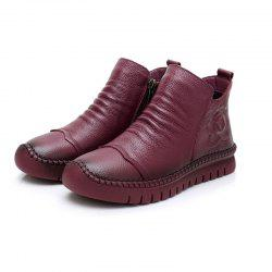 Autumn And Winter Flat BottomMotherCotton Shoes Cowhide Warm Boots For Women -