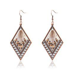 Fashion New Exaggerated Diamond Hand Made Rice Beads Drop Earrings -