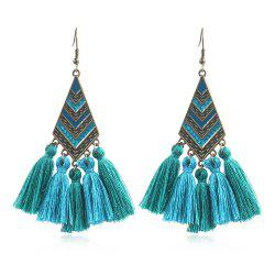 Fashion alloy Drop Oil Geometric Diamond Stripe Long Tassel Earrings -
