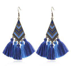 Модные сплавы Drop Oil Geometric Diamond Stripe Long Tassel Earrings -