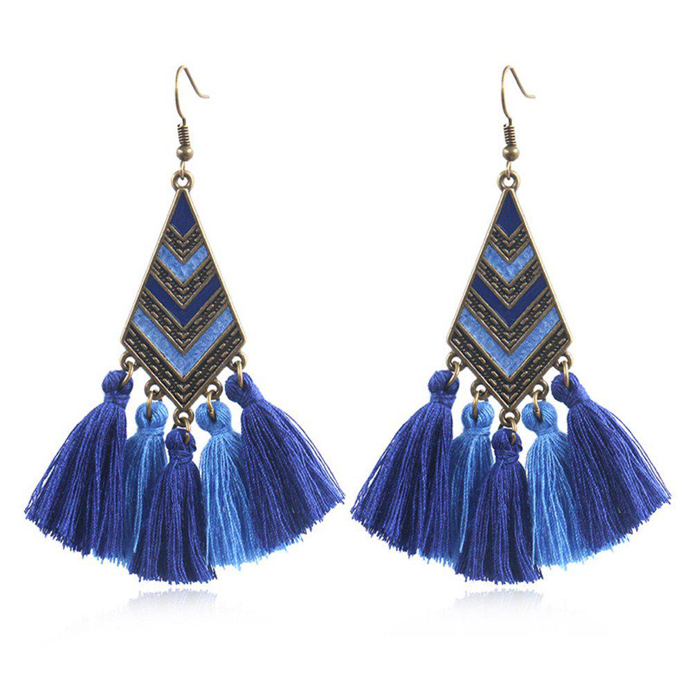 Модные сплавы Drop Oil Geometric Diamond Stripe Long Tassel Earrings