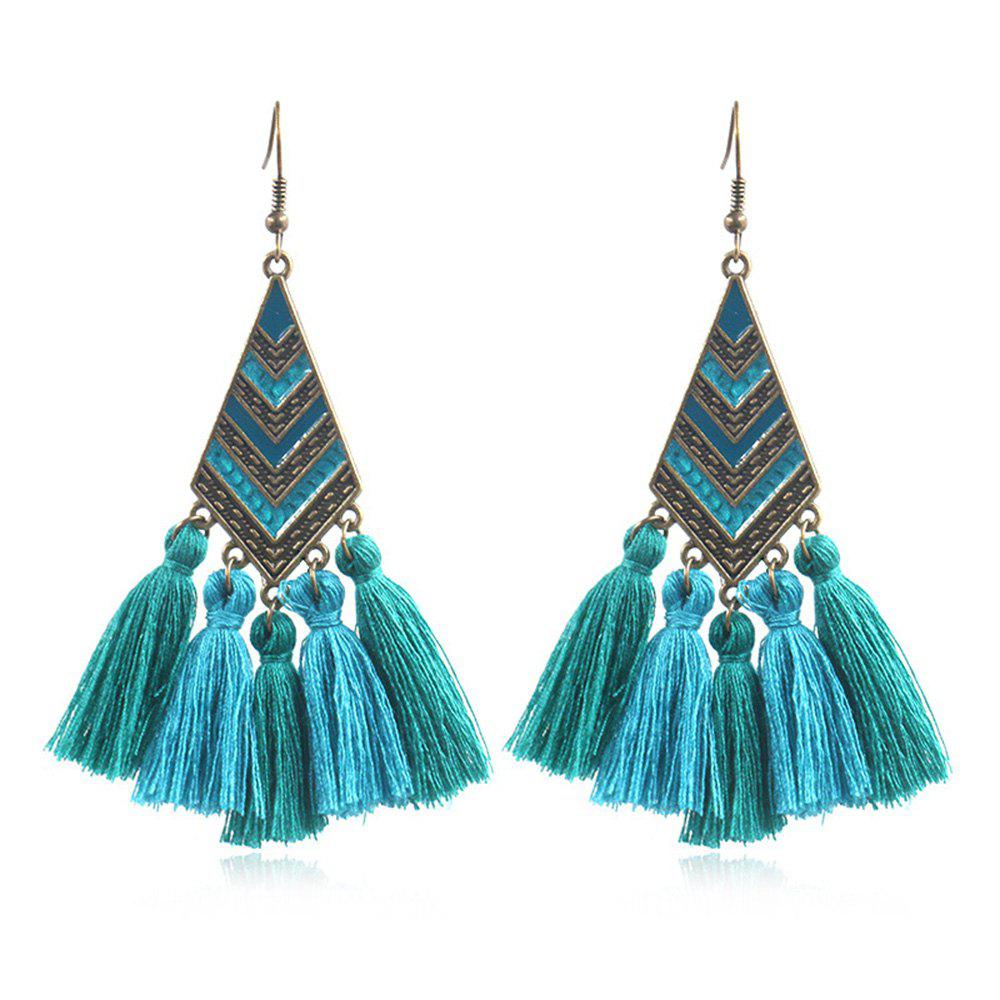 New Fashion alloy Drop Oil Geometric Diamond Stripe Long Tassel Earrings