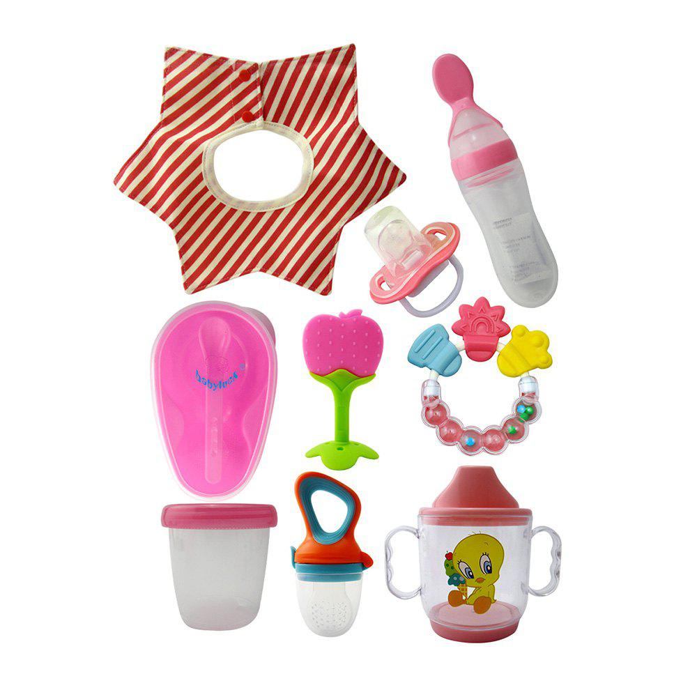 Hot 9 Pcs Baby's Feeding Set Cartoon Pattern Safe Convenient Set