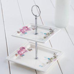 Double 2 layers Cake Stand Dessert Plate Dish Tableware Wedding Gift -