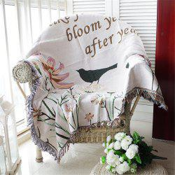Cotton Thread Europe Style Fashion Luxury Flowers Birds Knitted Sofa Blanket -