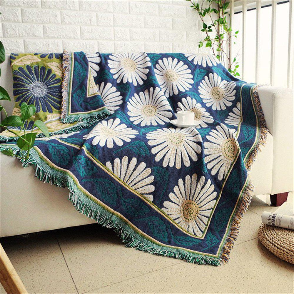 New Blooming Daisy Pattern Blanket Sofa Decorative Slipcover Travel Blanket