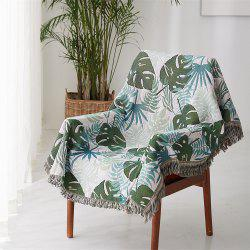 Monstera Leaf Pattern Blanket Sofa Decorative Slipcover Travel Blanket -