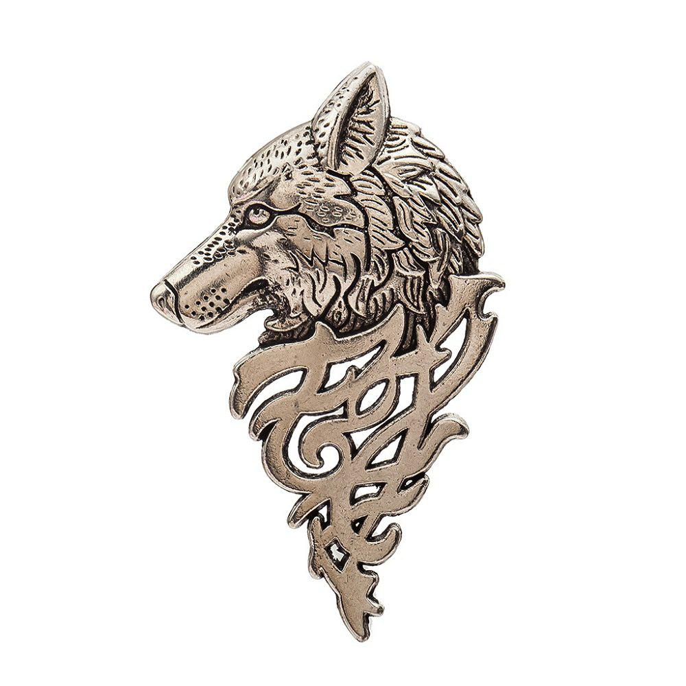 Best Jewelry Personality Fashion Mens Suit Collar Pin Buckle Domineering Wolf