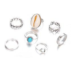 7PCS Bohemian Antique Silver Shell Rings for Women Jewelry -