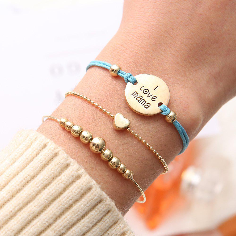 European and American Fashion Personality Love Beaded Disc Bracelet 3 Piece Set