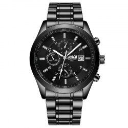 New Fashionable Men Black Steel Band Business Calendar Leisure Triple-Eye Watch -