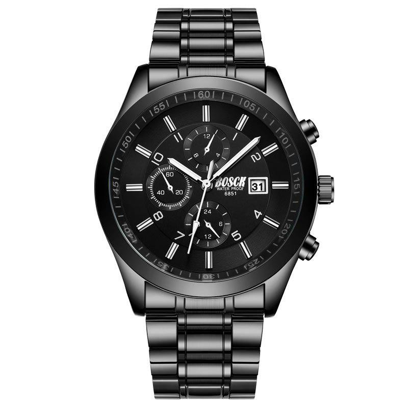 Cheap New Fashionable Men Black Steel Band Business Calendar Leisure Triple-Eye Watch