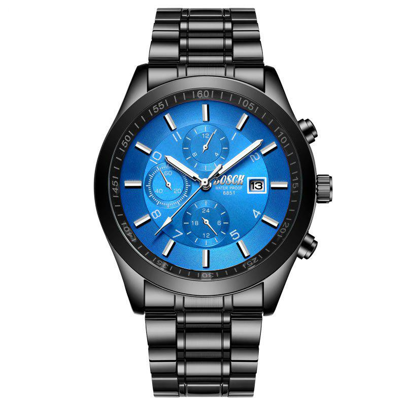 Outfits New Fashionable Men Black Steel Band Business Calendar Leisure Triple-Eye Watch