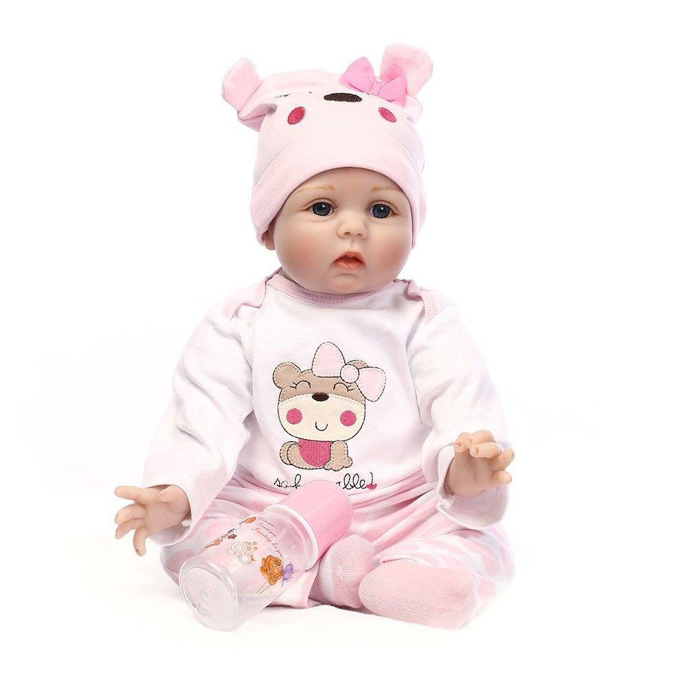 Unique AK896 Handmade Lifelike Reborn Baby Girl Doll Silicone Vinyl Newborn Dolls+ Clothes