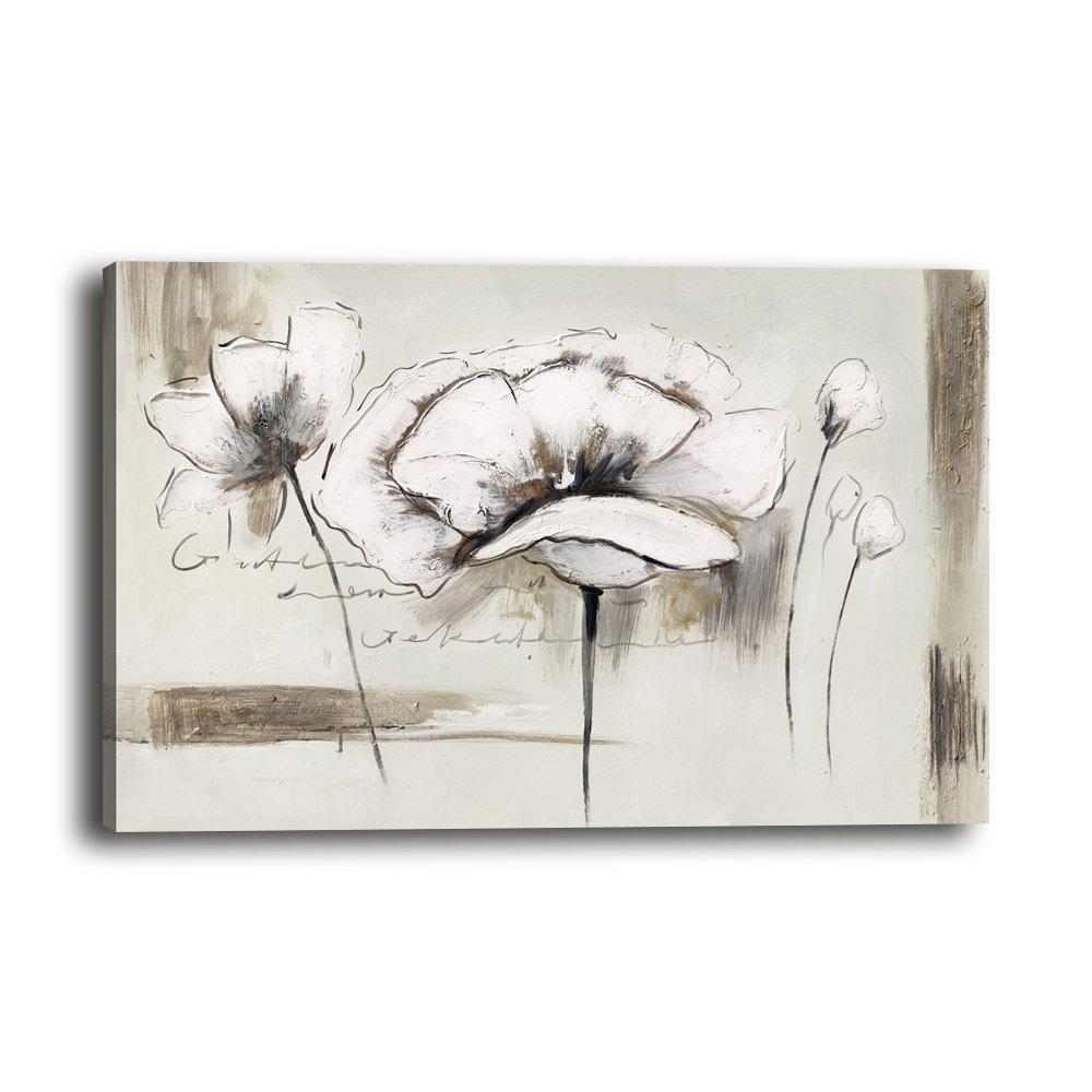 Latest Modern Minimalist Abstract White Flower Living Room Background Wall Painting