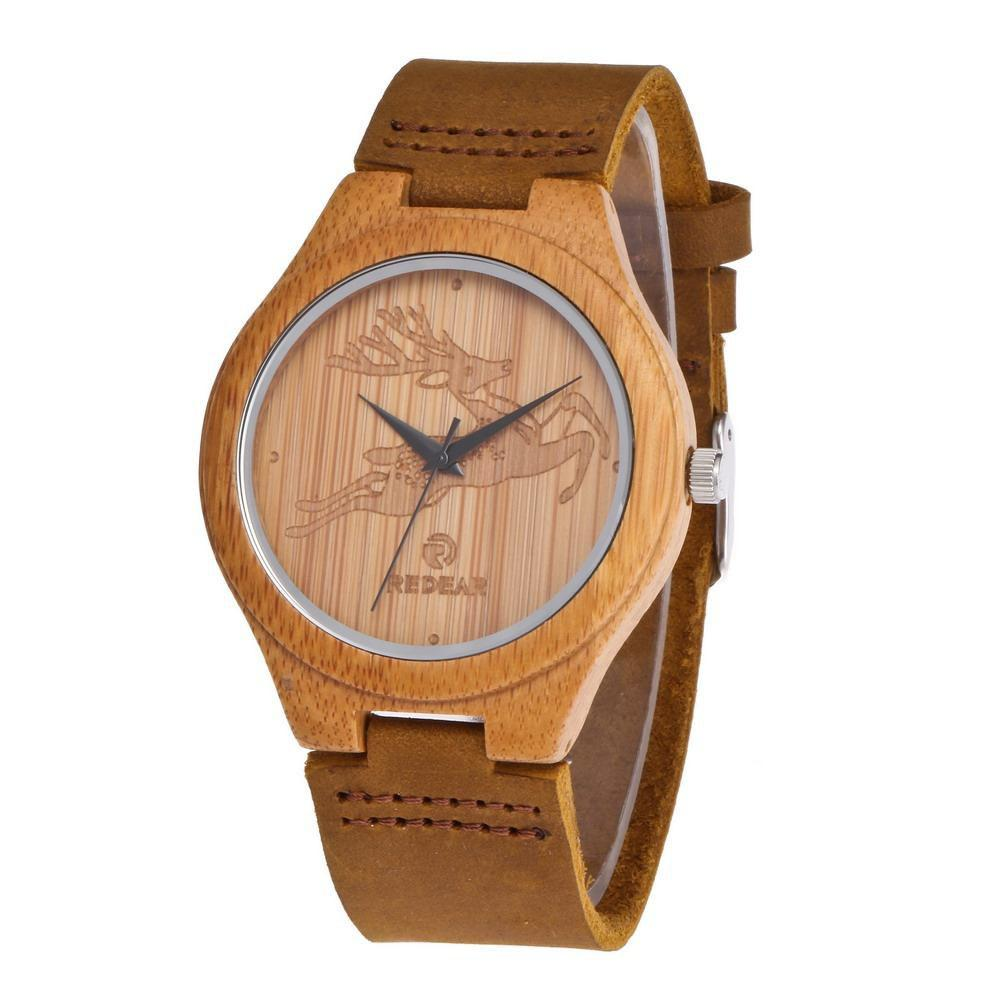Unique Personality Design Deer Leather Strap Wristwatch Natural Bamboo Quartz Watch