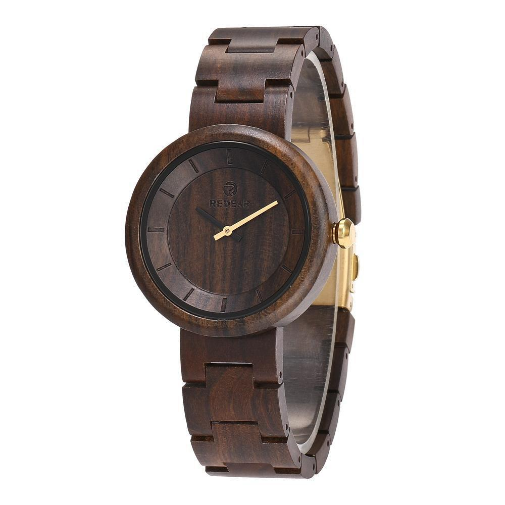 New Vintage Wristwatch Big Dial Natural Wooden Quartz Watch