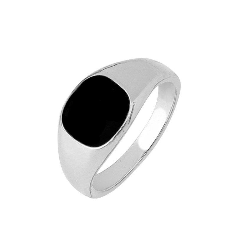 Hot Trend Simple Men's Black Spot Alloy Ring