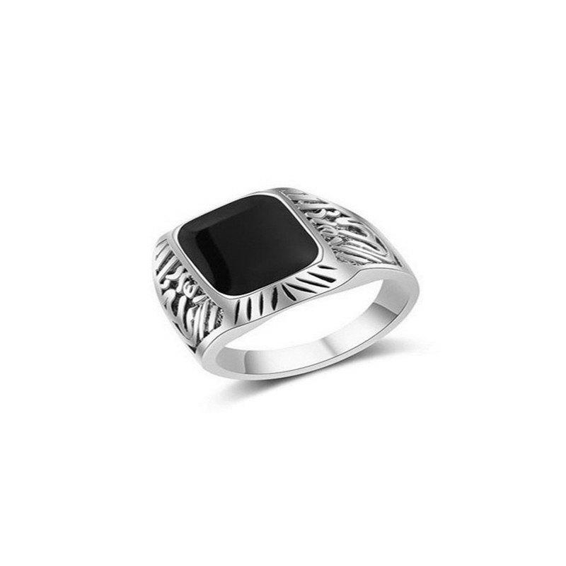 Cheap Luxury Fashion Men's Square Black Diamond Ring