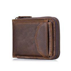 The First Layer of Leather Men's Casual Zipper  Function Wallet -