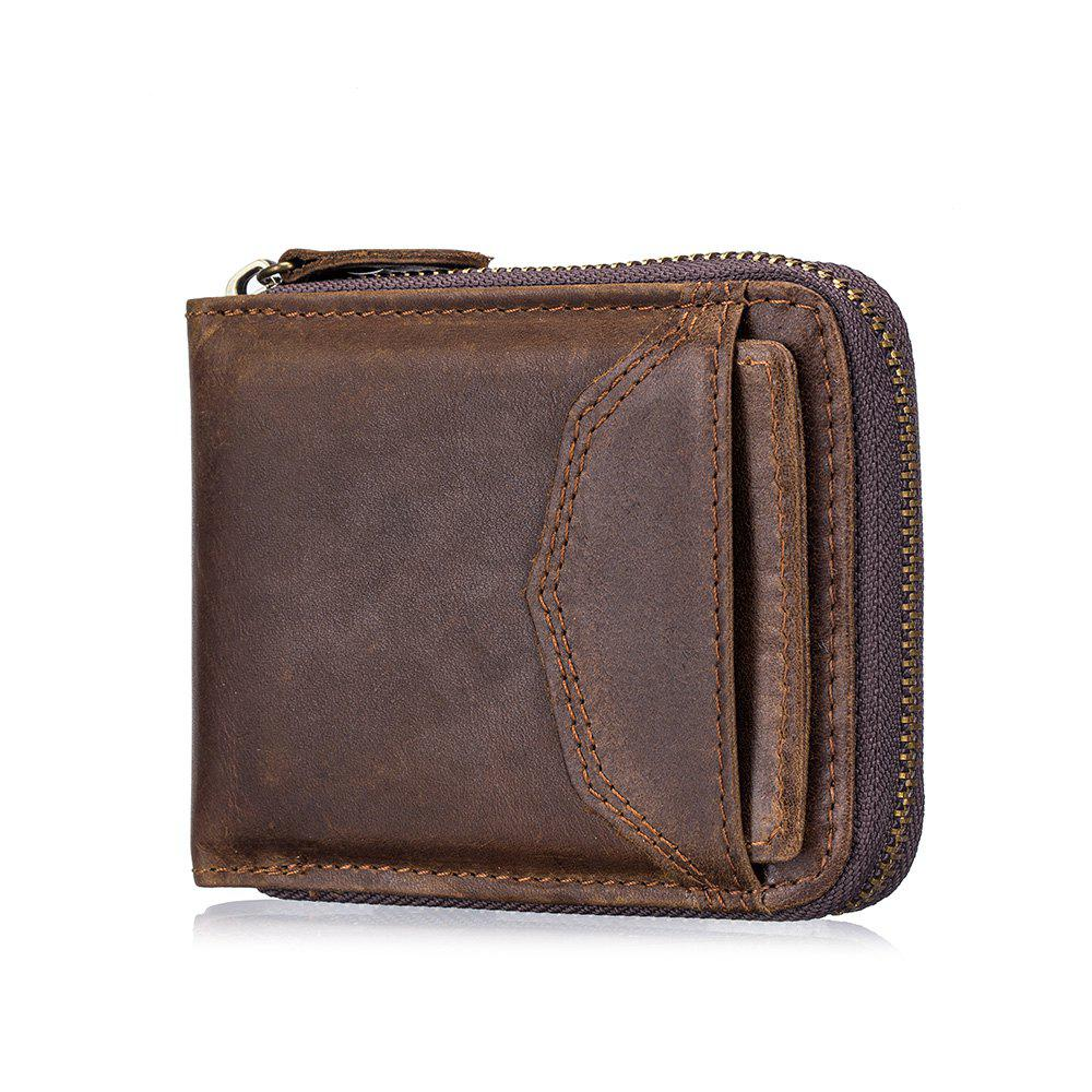 Chic The First Layer of Leather Men's Casual Zipper  Function Wallet