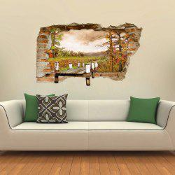 3D Wall Sticker Creative Three-dimensional Wooden Bridge Landscape -