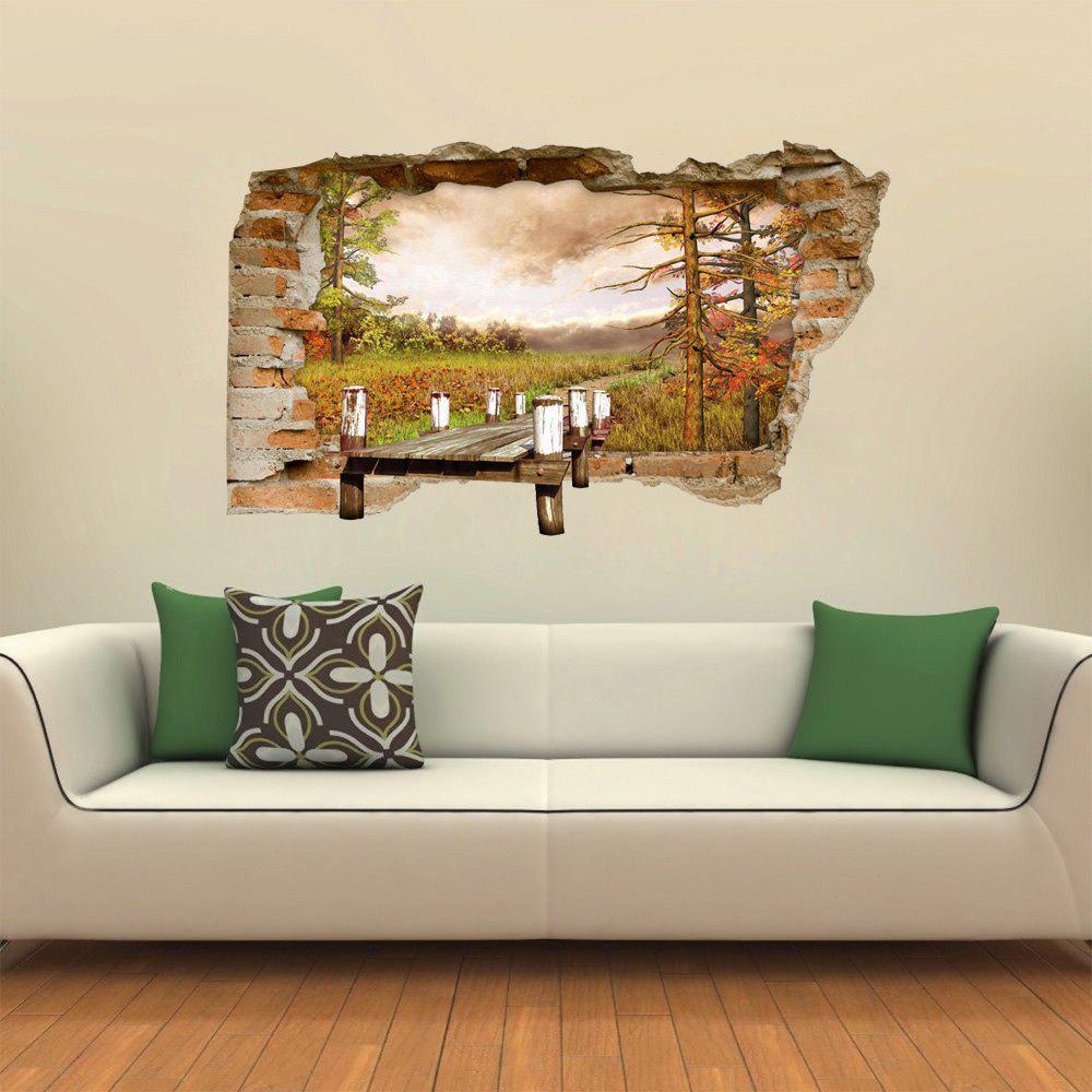 Trendy 3D Wall Sticker Creative Three-dimensional Wooden Bridge Landscape