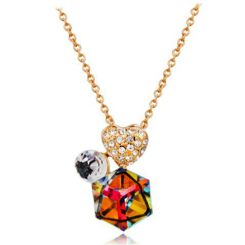 Golden Heart Zircon + Colored Crystal Pendant Necklace