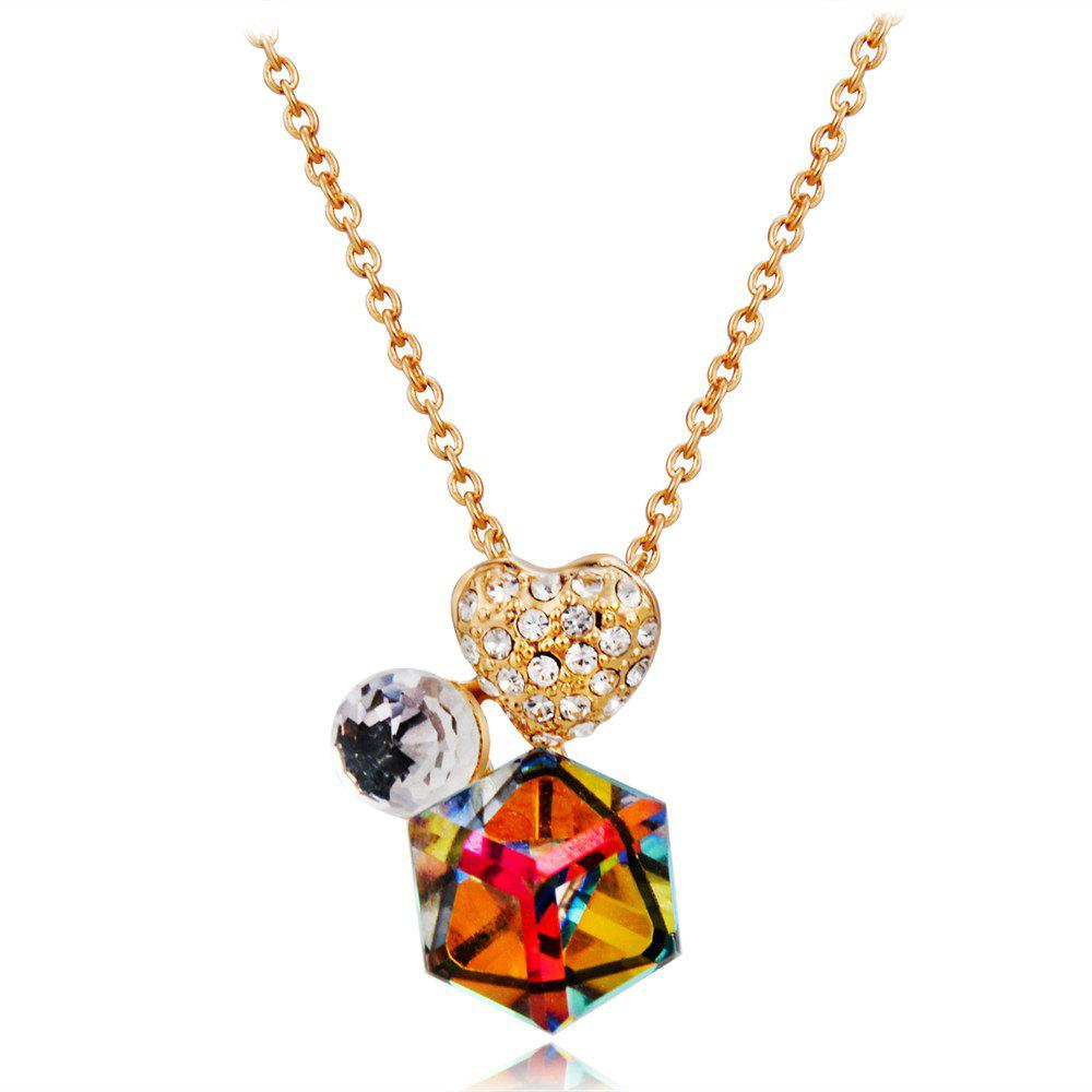 Latest Golden Heart Zircon + Colored Crystal Pendant Necklace