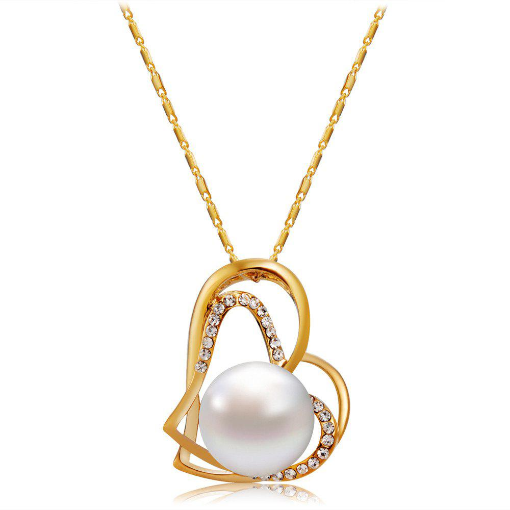 Outfit Gold Cutout Double Heart Shaped Zircon Imitation Pearl Pendant Necklace