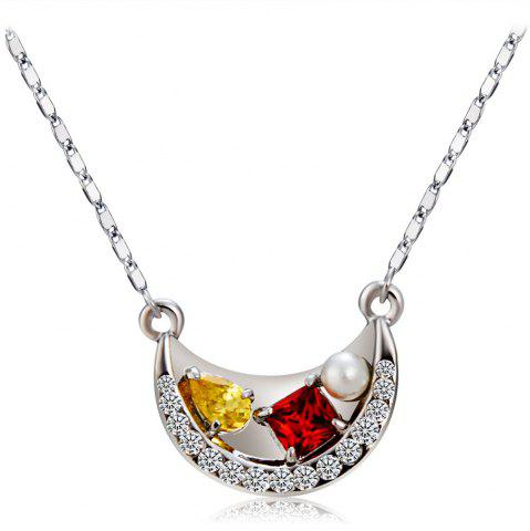 Silver Boat with Zircon Crystal Pendant Necklace