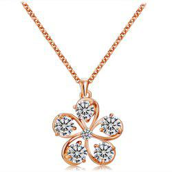 Rose Gold Five Petals with Crystal Pendant Necklace -