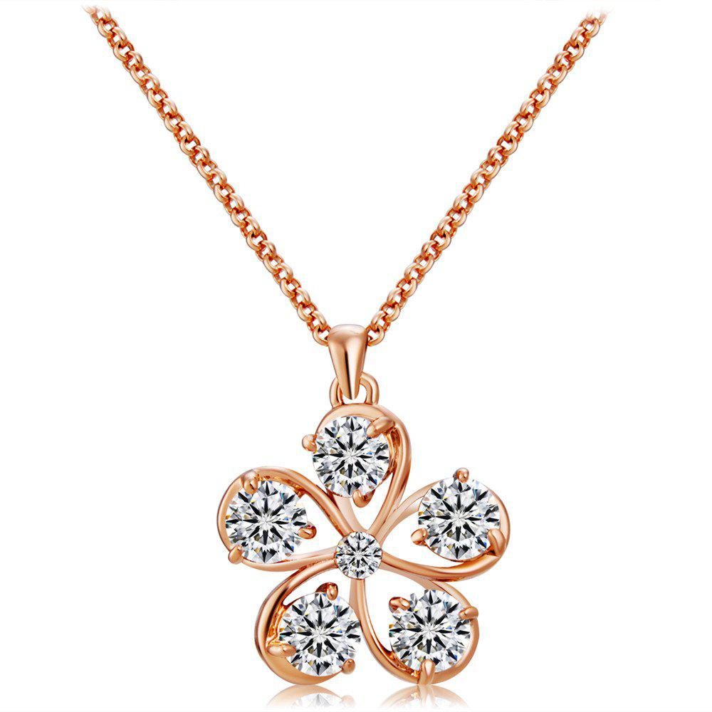 Discount Rose Gold Five Petals with Crystal Pendant Necklace