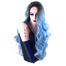 Black to Sky Blue Ombre Hair Long Body Wave Fahion Synthetic Wig Heat Resistant -