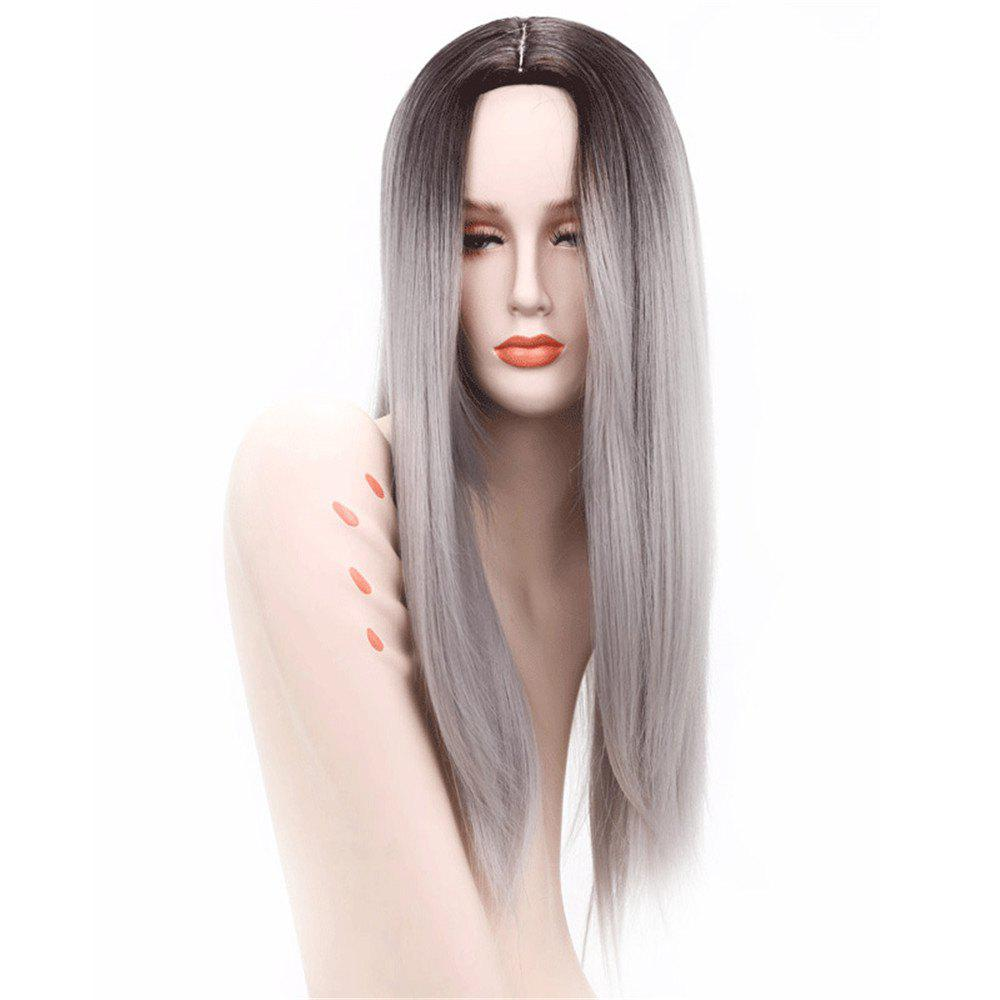 Ombre Daily Capless Wig Black to Grey Natural Hair Party Cosplay Wig