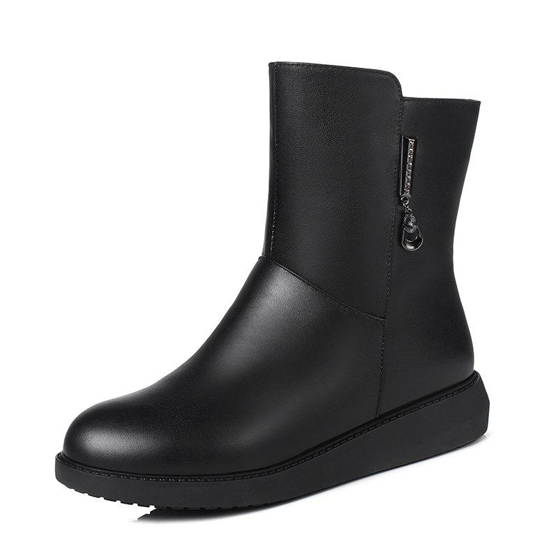 Shops WbzaoWinter Leather Flat Bottom Woolen Boots for Middle-Aged and Elderly Mothers