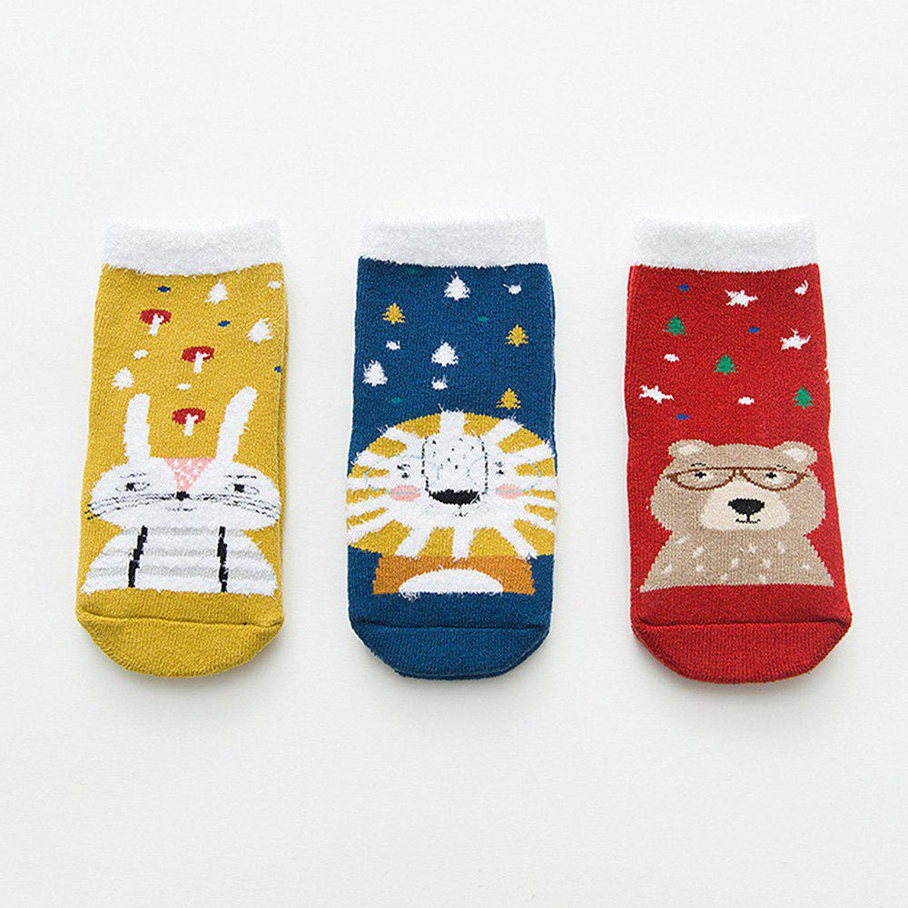 Outfit Autumn and Winter Christmas Cartoon Socks Warm 3 Pairs
