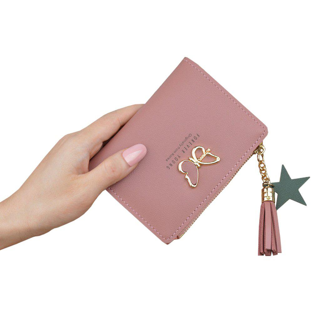 Cheap Wallet Short Butterfly Tassel Zip Cute Coin Purse Small Wallet Purse Clutch