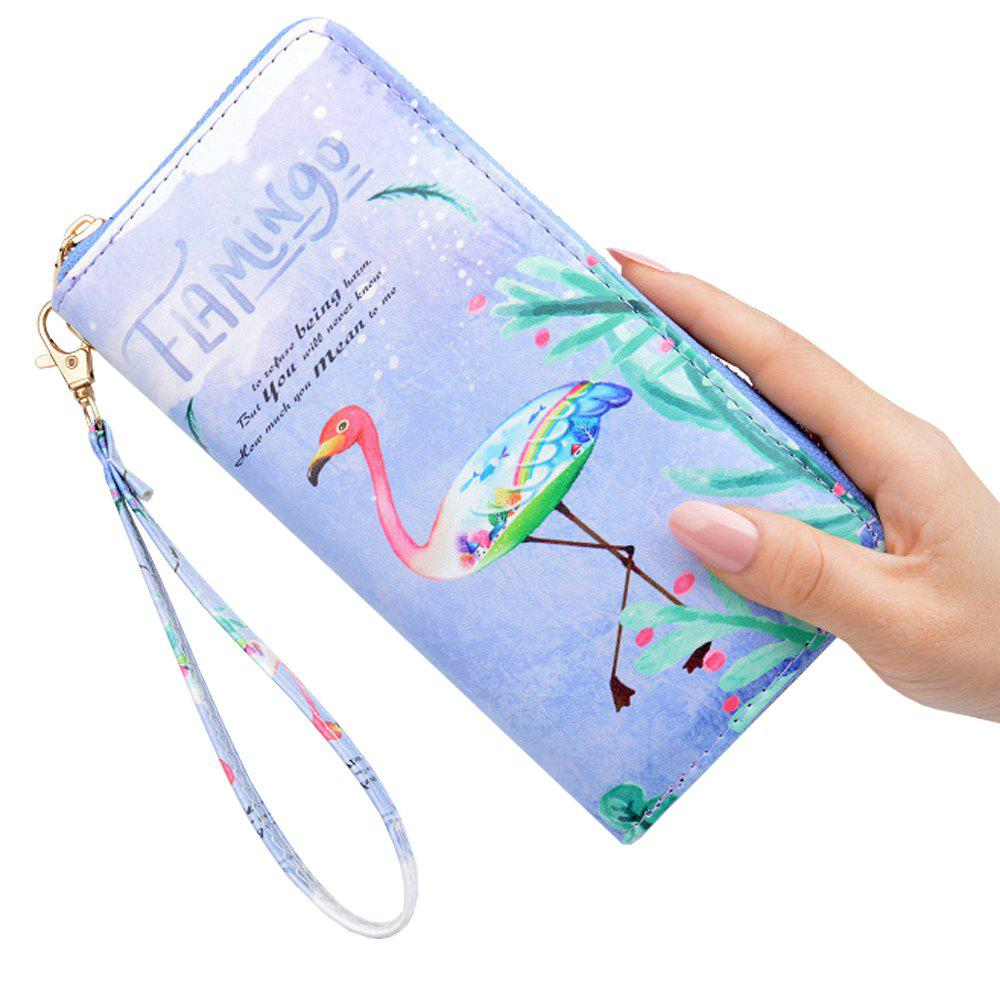 Trendy Literary Small Fresh Printed Wallet Ladies Long Zip Personality Simple Wallet