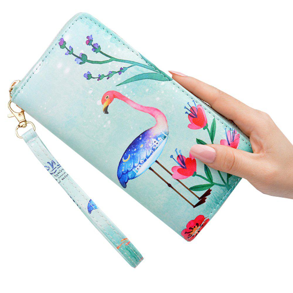 Chic Literary Small Fresh Printed Wallet Ladies Long Zip Personality Simple Wallet