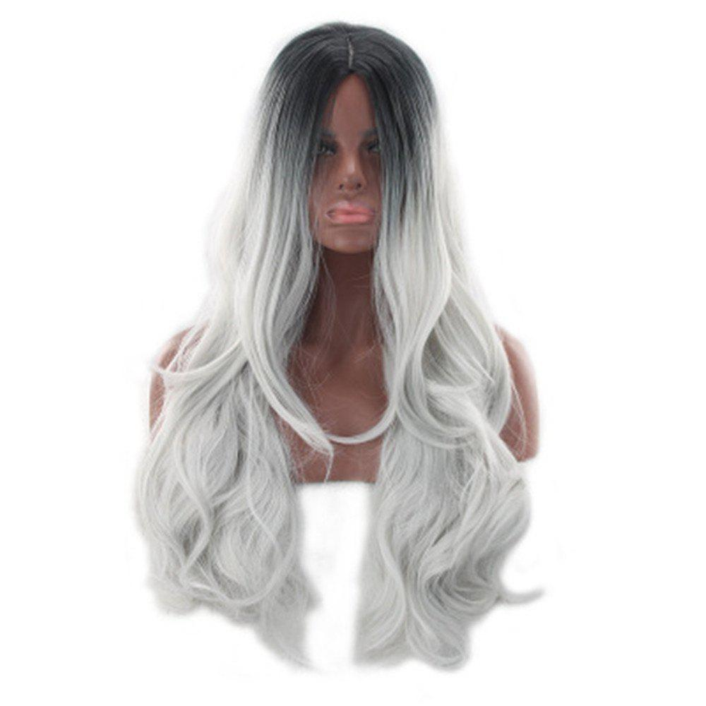Online Pop Anime Wig Color Stained Black and Gray Gradient  Wig