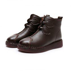 Add Flannelette Thick Bottom Flat heel Cowhide Female Short Boot in Old Age Shoe -