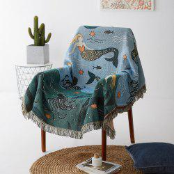 Mermaid Pattern Blanket Sofa Decorative Slipcover Plaid Non-Slip Blanket -