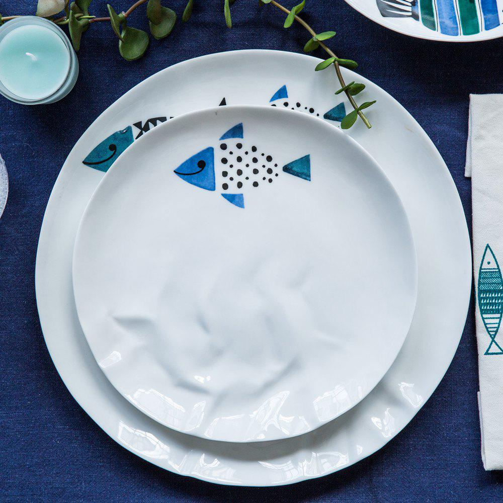 Affordable Modern Style Fish Pattern Ceramic Steak Salad Plate Home Fish Dishes Tableware