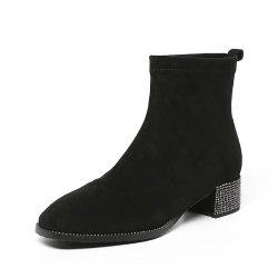 Fashionable Dress Ankle Boots with Comfortable Square Head Contracted All-Purpos -