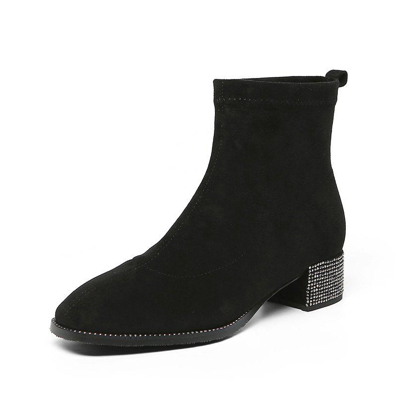 Hot Fashionable Dress Ankle Boots with Comfortable Square Head Contracted All-Purpos