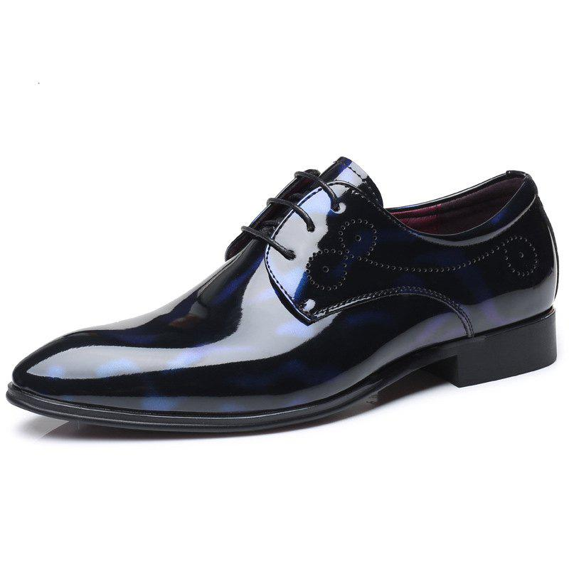 Shop COSIDRAM Men'S Leather Shoes Glossy Patent Leather Shoes Belted Formal Shoes