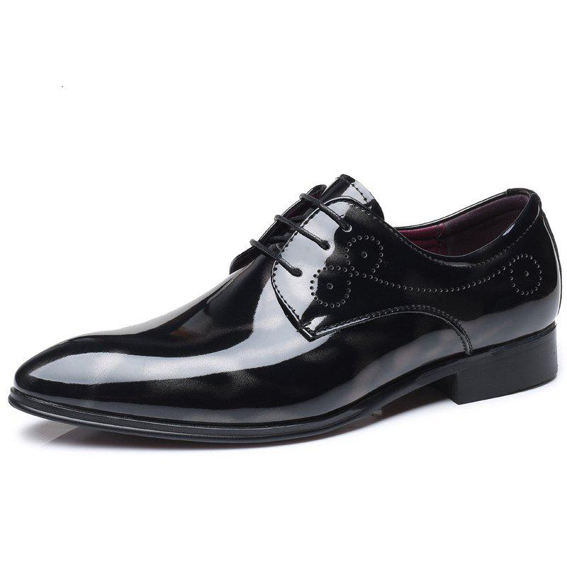 Hot COSIDRAM Men'S Leather Shoes Glossy Patent Leather Shoes Belted Formal Shoes